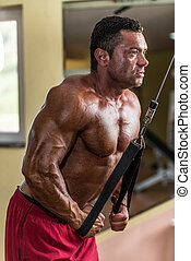 bodybuilder doing heavy weight exercise for triceps with cable