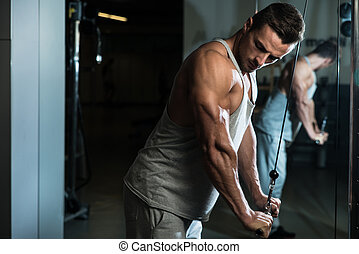 Bodybuilder Doing Heavy Weight Exercise For Triceps With...