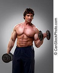 Bodybuilder doing his biceps