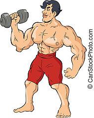 Bodybuilder - Cartoon illustration of a muscular man holding...