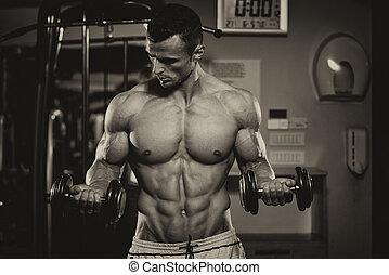 bodybuilder, dumbbells, bíceps, exercitar