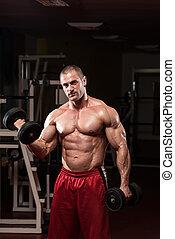 bodybuilder, dumbbells, oefening