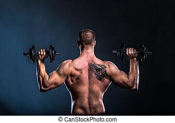 bodybuilder, dumbbells, vasthouden