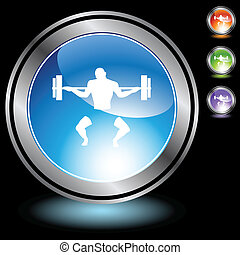 Bodybuilder web button isolated on a background