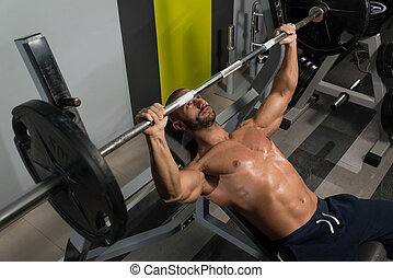 Bodybuilder Exercise Bench Press With Barbell