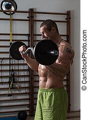 bodybuilder, exercitar, bíceps, com, barbell