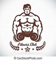 Bodybuilder Fitness Model Illustration With Brown Color