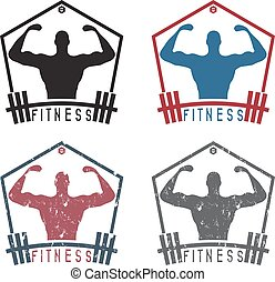 Bodybuilder Fitness Model with barbell vector labels set