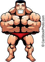 Bodybuilder Flexing - A happy cartoon bodybuilder flexing...