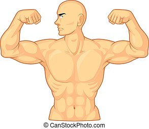 A vector image of bodybuilder flexing his muscles. Drawn in vintage style, this vector is very good for design that need bodybuilding element in retro style.