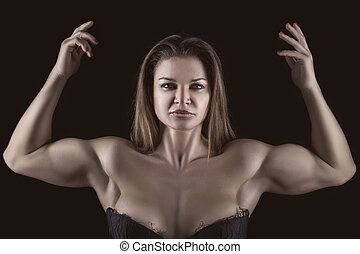 bodybuilder, flicka, med, räcker lyftt, uppe.