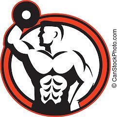 bodybuilder, hantel, retro, heben