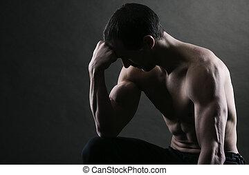bodybuilder, het concentreren