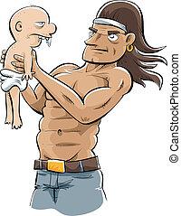 Bodybuilder Holding Baby