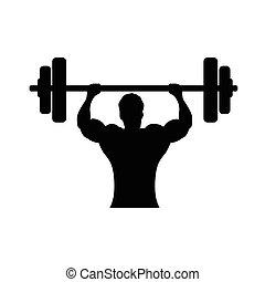 bodybuilder silhouette - bodybuilder holds wieght bar,...