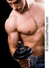 bodybuilder, i aktion, -, muskulös, mäktig, herre lyftande vikt