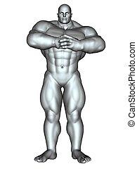 Bodybuilder in action pose
