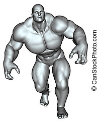 Bodybuilder in action pose