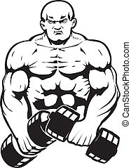 Bodybuilder in line-art. This figure is transparent! You can put any background behind it.