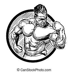bodybuilder in the ring vector illustration