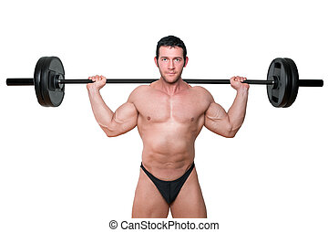 Bodybuilder lifting barbell.