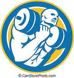 Bodybuilder Lifting Dumbbell Circle Retro