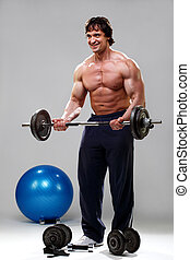 Bodybuilder lifting some weights