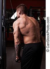 Bodybuilder man doing workout