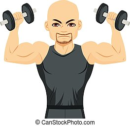 Bodybuilder Man Exercising