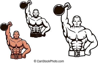 Bodybuilder man in cartoon style with dumbbell for sport or mascot design