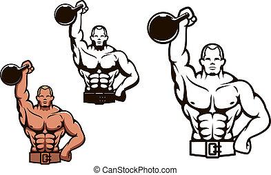 Bodybuilder man with dumbbell - Bodybuilder man in cartoon...
