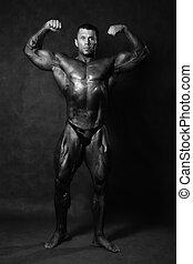 bodybuilder, mannelijke , het poseren, gespierd