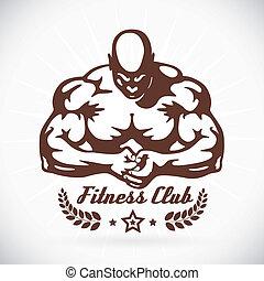 bodybuilder, model, illustratie, fitness