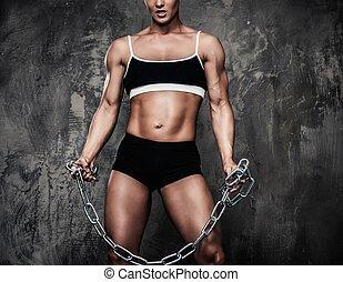 bodybuilder, mulher, correntes,  Muscular, segurando