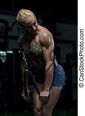 bodybuilder, mulher, exercício, triceps