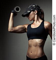 bodybuilder, mulher, forte, condicão física