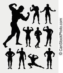 Bodybuilder man in gymnastic pose silhouettes.