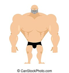 Bodybuilder on a white background. Strong big man. Athlete with big muscles. Vector illustration man fitness model.