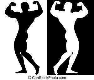 bodybuilder on black and white background