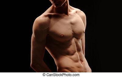 bodybuilder - part - Bodybuilder-body part on black...