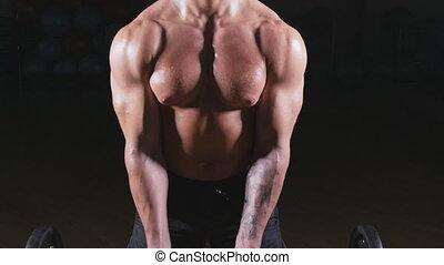 Bodybuilder performing barbell biceps curls - Handsome...