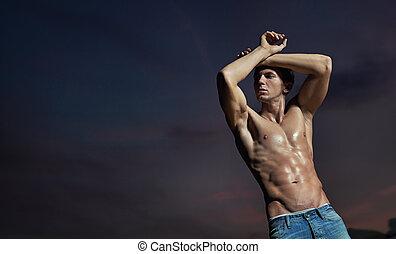 bodybuilder, posar, bonito