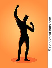 bodybuilder, pose, silueta, ilustração
