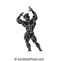 bodybuilder posing, icon, vector