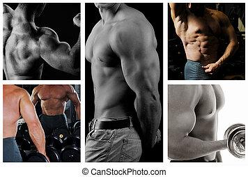Bodybuilder posing on the black background. Collage