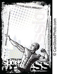 bodybuilder poster - sketching of the bodybuilder