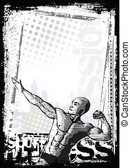 bodybuilder poster - sketching of the bodybuilder