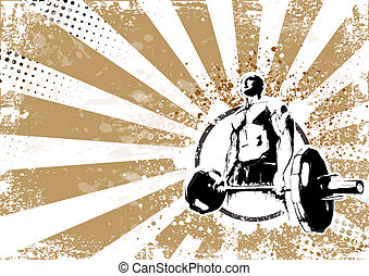 bodybuilder retro poster background