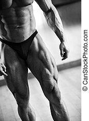 bodybuilder, seção, baixo