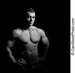 bodybuilder, seine, ausstellung, muskeln